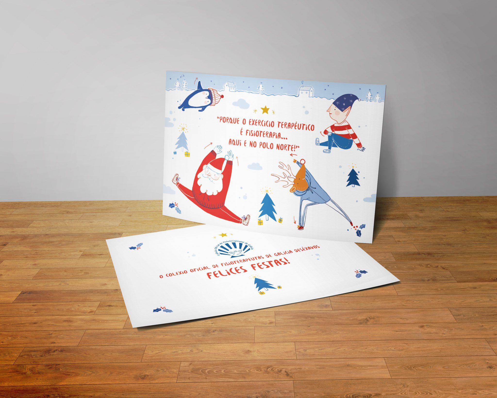 mockup-ilustracion-postal-diseni-colegio-fisioterapeutas-xanino-coruna-navidad